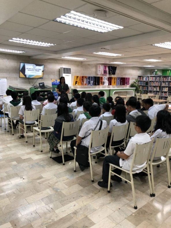 Ms. Caparas, Ms. Cabrito and Mr. Afurong conducted Library Orientation with the Junior High School and  BRafeNHS  Students