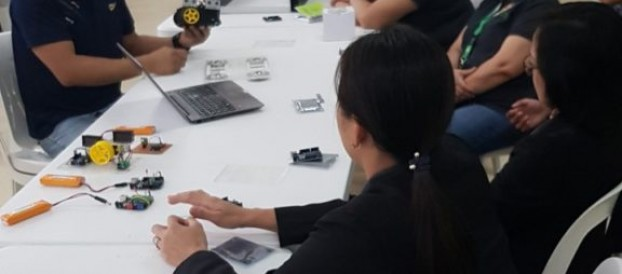 Kapihan sa Silid Aklatan:Applying Makerspace Technology in the Library conducted by Mr. Dennis Patiño with the Librarian and Staff last August 14, 2019