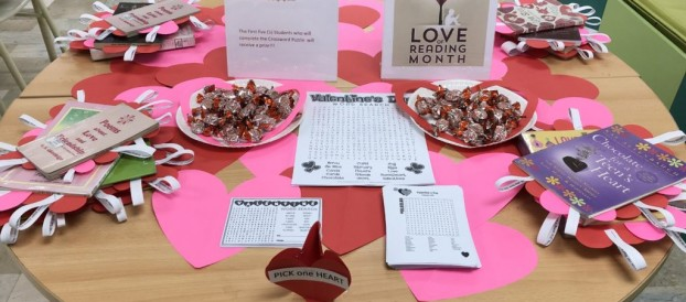 Share the Love for Books on Valentine's  Day at  the JHS  Library – Valentine's Crossword Puzzle and Blind Date with a Book at the SHS Library