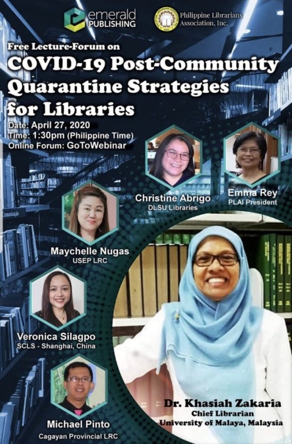 Mr. Diola, Mr. Ravalo, Mr. Dino and Mr. Afurong attended the webinar entitled: COVID-19 Post-Community Quarantine Strategies for Libraries last April 27, 2020