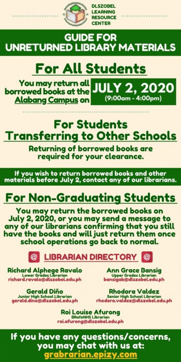 GUIDE FOR UNRETURNED LIBRARY MATERIALS