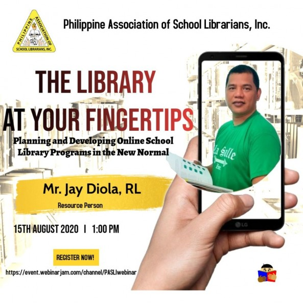 "Mr. Jay Diola was invited as a Resource Speaker at PASLI's webinar entitled ""The Library at Your Fingertips"" last August 15, 2020."
